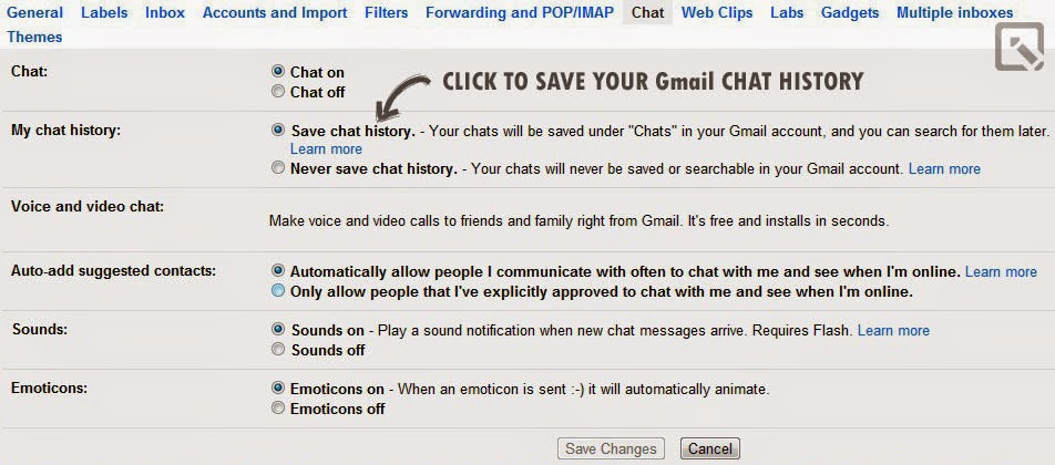 How to remember chat history in Gmail?