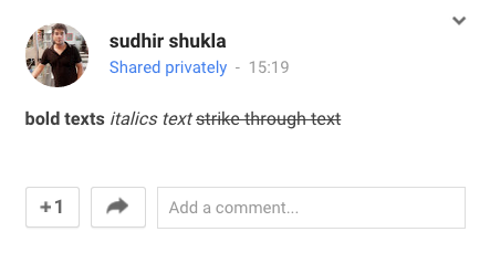 Make bold, italic and strikethrough text formats on Google Plus-2